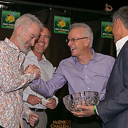 March 6, 2015, Indian Wells, California:<br /> John McEroe and Rick Leach participate in a draw ceremony with Joe Kiani, Founder, Chairman and CEO of Masimo, and BNP Paribas Open CEO Raymond Moore during the McEnroe Challenge for Charity VIP Draw Ceremony in Stadium 2 at the Indian Wells Tennis Garden in Indian Wells, California Friday, March 6, 2015.<br /> (Photo by Billie Weiss/BNP Paribas Open)
