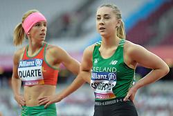17/07/2017 : Orla Comerford (IRL), Carolina Duarte (POR), T13, Women's 100m, at the 2017 World Para Athletics Championships, Olympic Stadium, London, United Kingdom