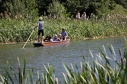 © Licensed to London News Pictures . 19/07/2013 . Suffolk , UK . Visitors enjoy punting around a cool lake in intense heat in Henham Park at The Latitude music and culture festival in Henham Park , Southwold . Photo credit : Joel Goodman/LNP