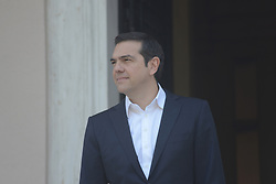 April 26, 2018 - Athens, Attiki, Greece - Greek Prime Minister,Alexis Tsipras, is waiting the arrival of the President of the European Commission,Jean-Claude Juncker. (Credit Image: © Dimitrios Karvountzis/Pacific Press via ZUMA Wire)