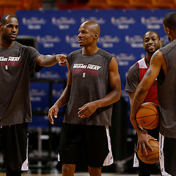 Jun 7, 2013; Miami, FL, USA; Miami Heat small forward LeBron James (left), Ray Allen (center) and Dwyane Wade (right) during practice at the American Airlines Arena. Mandatory Credit: Derick E. Hingle-USA TODAY Sports
