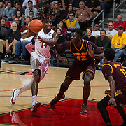 10 December 2016: The San Diego State Aztecs men's basketball team host's Saturday afternoon at Viejas Arena. San Diego State forward Zylan Cheatham (14) drives the ball on Arizona State center Jethro Tshisumpa (42) in the second half. The Aztecs fell to the Sun Devils 74-63. www.sdsuaztecphotos.com