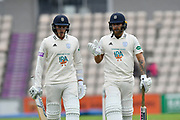 Brad Wheal of Hampshire and Gareth Berg of Hampshire during the Specsavers County Champ Div 1 match between Hampshire County Cricket Club and Worcestershire County Cricket Club at the Ageas Bowl, Southampton, United Kingdom on 13 April 2018. Picture by Graham Hunt.