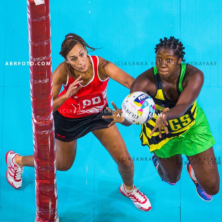Jhaniele Fowler-Reid and Geva Mentor contest for the ball during Australia Vs Jamaica Fast5 Netball.