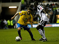 Photo: Steve Bond/Richard Lane Photography. Derby County v Crystal Palace. Coca Cola Championship. 06/12/2008. Sean Scannel (L) yakes on Darren Powell (R) again