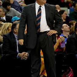 Dec 18, 2009; New Orleans, LA, USA;  New Orleans Hornets head coach Jeff Bower watches his team during the first half against the Denver Nuggets at the New Orleans Arena. Mandatory Credit: Derick E. Hingle-US PRESSWIRE
