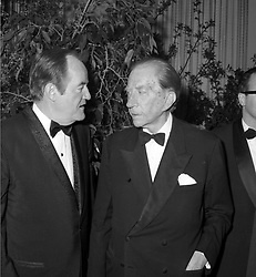Left to right, HUBERT HUMPHREY former Vice President of the USA and PAUL GETTY at a party in London on 1st May 1969.