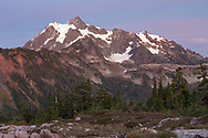 An early October evening in Washington State's North Cascades Range featuring Mount Shuksan. Photographed from Huntoon Point on Kulshan Ridge in the Mount Baker Wilderness. Mount Shuksan itself lies in North Cascades National Park.