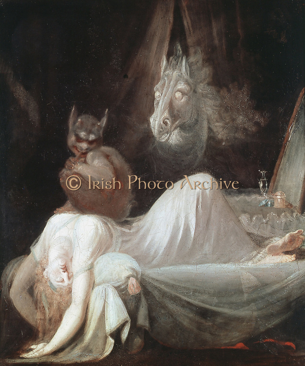 The Nightmare', 1781. Painting by Henry Fuseli (Johann Heinrich Fussli 1741-1825) Swiss-born English painter. Freud had an engraving of this picture in his study.   Goethe Museum, Frankfurt.