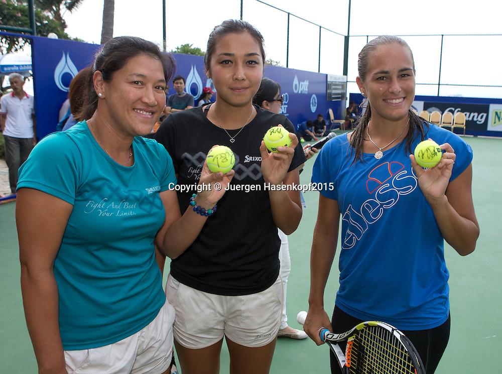 Tamarine Tanasugarn, Zarina Diyas und Monica Puig, WTA Tennis Clinic<br /> <br /> Tennis - PTT Thailand Open 2015 - WTA -  Dusit Thani Hotel - Pattaya - Chonburi - Thailand  - 12 February 2015.