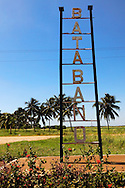 Town entry sign in Batabano, Mayabeque, Cuba.