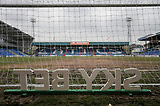 General view of the stadium, including the Sky Bet sign behind the goal during the EFL Sky Bet League 1 match between Oldham Athletic and Bury at Boundary Park, Oldham, England on 11 March 2017. Photo by Mark P Doherty.