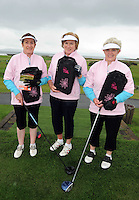 Anne Casey, Maria Gibson and Breege Shanley from Longford  Golf Club  at the Galway Golf Club for the AIB Ladies Irish Open Club Challenge qualifier..Photo:Andrew Downes