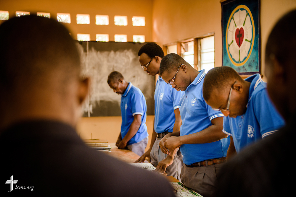 Students pray before an exam at the Lutheran Center for Theological Studies (CLET) on Wednesday, Feb. 15, 2017, in Dapaong, Togo. LCMS Communications/Erik M. Lunsford