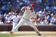 CHICAGO, IL - JULY 25: Cole Hamels #35 of the Philadelphia Phillies pitches during his no-hitter against the Chicago Cubs at Wrigley Field on July 25, 2015 in Chicago, Illinois. The Phillies defeated the Cubs 5-0. (Photo by Joe Robbins)