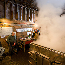 In the sugar house  at Sugarbush Farm in Woodstock, Vermont. From left to right: Ralph Luce, Bernie Braley, and Jeff Luce.