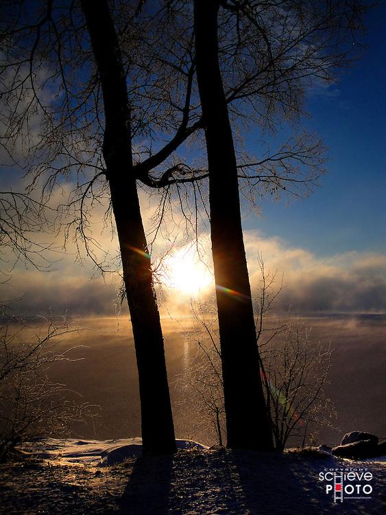 Winter sunrise over Lake Monona in Madison, Wisconsin.