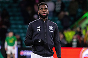 Odsonne Edouard of Celtic FC completes his warmup ahead of the Europa League match between Celtic and FC Copenhagen at Celtic Park, Glasgow, Scotland on 27 February 2020.