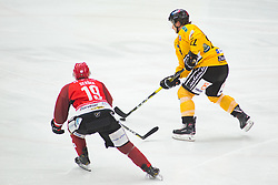SERSEN Gasper vs Danny Elliscasis during Alps Hockey League match between HC Pustertal and HDD SIJ Jesenice, on April 3, 2019 in Ice Arena Podmezakla, Jesenice, Slovenia. Photo by Peter Podobnik / Sportida