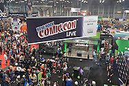 Manhattan, New York City, New York, USA. October 10, 2015. A large COMIC CON LIVE banner, seen in an overhead view, is above a live stream event area, at the 10th Annual New York Comic Con. NYCC 2015 is expected to be the biggest one ever, with over 160,000 attending during the 4 day ReedPOP event, from October 8 through Oct 11, at Javits Center in Manhattan