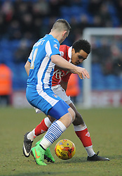 Bristol City's Korey Smith is closed down by Colchester United's Jack Marriott - Photo mandatory by-line: Dougie Allward/JMP - Mobile: 07966 386802 - 21/02/2015 - SPORT - Football - Colchester - Colchester Community Stadium - Colchester United v Bristol City - Sky Bet League One