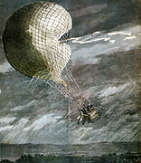 Death of the French aviators Godard and Panis when their balloon was struck by lightning over Chicago. From 'Le Petit Journal',  15 July 1891. Accident Ballooning