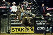 Valdiron De Oliveira rides bull Slinger during the 25th Professional Bull Riders  Unleash the Beast Music City Knockout in Nashville, Tenn., Friday, Aug 17, 2018..(Michelle Donovan/Image of Sport)