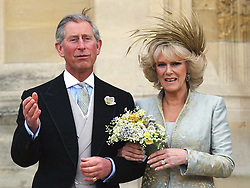 Britain's Prince Charles and Camilla Duchess of Cornwall leave St Georges' Chapel, Windsor England, following a blessing of their marriage.