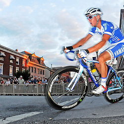 Joseph Schmalz, of Elbowz Racing who came in first, rides in the Iron Hill Twilight Criterium Pro Men's race. TK4