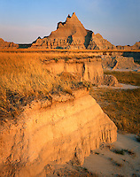 Badlands and prairie grasses, Badlands National Park South Dakota USA