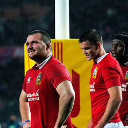 Lions captain Ken Owens (left) watches a TMO replay during the 2017 DHL Lions Series rugby union match between the Blues and British & Irish Lions at Eden Park in Auckland, New Zealand on Wednesday, 7 June 2017. Photo: Dave Lintott / lintottphoto.co.nz