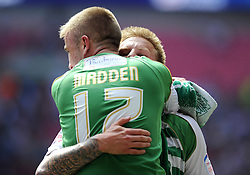 Yeovil Town's Paddy Madden and Yeovil Town's Byron Webster celebrate winning the League One Play Off Final  - Photo mandatory by-line: Joe Meredith/JMP - Tel: Mobile: 07966 386802 19/05/2013 - SPORT - FOOTBALL - LEAGUE 1 - PLAY OFF - FINAL - Wembley Stadium - London - Brentford V Yeovil Town