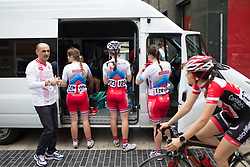 Team Russia riders prepare for the Durango-Durango Emakumeen Saria - a 113 km road race, starting and finishing in Durango on May 16, 2017, in the Basque Country, Spain.