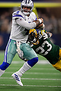 ARLINGTON, TX - OCTOBER 6:  Dak Prescott #4 of the Dallas Cowboys is tackled by Jaire Alexander #23 of the Green Bay Packers at AT&T Stadium on October 6, 2019 in Arlington, Texas.  The Packers defeated the Cowboys 34-24.  (Photo by Wesley Hitt/Getty Images) *** Local Caption *** Dak Prescott; Jaire Alexander