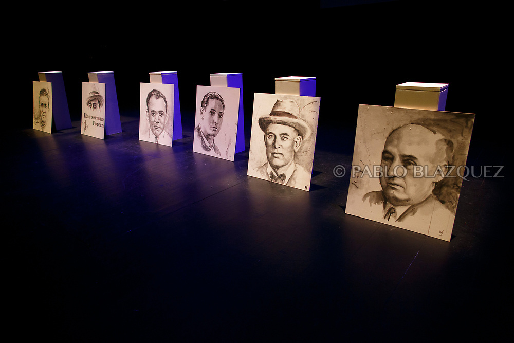 14/04/2018. Portraits depicting Spain's Civil war victims Victoriano Tarancon (L), Eloy Serrano Forcen (2L), Hipolito Olmo Fernandez (3L), Elicio Gomez (3R),  Francisco Romero Carrasco (2R) and Abundio Andaluz (R) exhumed in Cobertelada and Calata&ntilde;azor are displayed on stage at the Centro Cultural Palacio de la Audiencia during a homage to hand the remains to their relatives on April 14, 2018 in Soria, Spain. La Asociacion Soriana Recuerdo y Dignidad (ASRD) 'The Soria Association for Memory and Dignity' celebrated a tribute to hand over the remains of civil war victims to their families. The Society of Sciences of ARANZADI helped with the research, exhumation and identification of the bodies, after villagers passed the information about the mass grave, 81 years after the assassination took place, to the ASRD. Seven people were assassinated around August 25, 1936 by Falangists, as part of General Francisco Franco armed forces, and buried in the 'Fosa de los Maestros' (Teachers Mass Grave) near Cobertelada, Soria, after being taken from prison of Almazan during the Spanish Civil War. Five of them were teachers in the region, and also friends of Spanish writer Antonio Machado. The other two still remain unidentified. Another body was assassinated by Falangists accompanied by a priest in 1936, and was exhumed on 23 September of 2017 near Calata&ntilde;azor, Soria. It belonged to Abundio Andaluz, a politician, lawyer and musician in Soria.<br /> Spain's Civil War took the lives of thousands of people on both sides, and civilians. But Franco continued his executions after the war has finished. Teachers, as part of the education sector, were often a target of Franco's forces. Spanish governments has never done anything to help the victims of the Civil War and Franco's dictatorship while there are still thousands of people missing in mass graves around the country. (&copy; Pablo Blazquez)