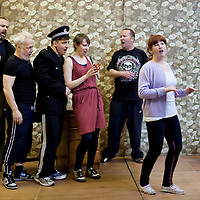 "Picture shows : Greg Hemphill as Finlay, Jimmy Chisolm as Simon  Johnny McKnight as Callum,  Sally Reid as Marie, Paul Riley as Fran and  Ros Sydney as Morag..Rehearsal of the forthcoming National Theatre of Scotland production 'An Appointment with The Wicker Man'..Picture © Drew Farrell  ( Tel : 07721-735041 ).On a remote Scottish island, the Loch Parry Theatre Players mount their am-dram version of The Wicker Man. When their lead actor goes missing in mysterious circumstances, they call on the services of a television cop from the mainland to step in and save their production. ..The play opens at the MacRobert Arts Centre, Stirling on 18th February 2012 before touring Aberdeen, Glasgow, Inverness and Dunfermline...The Wicker Man regularly tops ""Best Horror Film of All Time"" lists and is regarded as a true film classic. With an unforgettable sense of creeping dread, a wonderfully memorable score by Paul Giovanni, career defining performances from Edward Woodward and Christopher Lee it also has arguably the best ending in cinema history. Now, in an affectionate new adaptation, the National Theatre of Scotland gives a gallus round of applause to this immortal chronicle of strange goings-on in a wee village. 