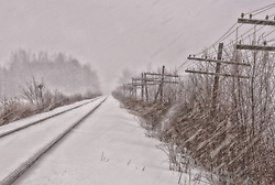 Close companions across the continent, rails and telegraph wires vnish into the snowy distance while flakes are driven across the wintery scene. This is a live track, the rails are clear of snow.