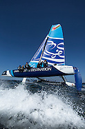 The Extreme Sailing Series 2014. Act 2. Muscat. <br /> The Wave, Muscat. Skippered by Leigh McMillan (GBR) with tactician Sarah Ayton (GBR), trimer Peter Greenhalgh (GBR), headsail trimer Kinley Fowler (NZL) and bowman Nasser Al Mashari (OMA)<br /> Credit - Lloyd Images