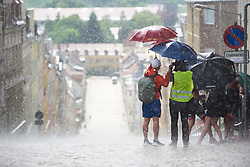 Rain pours down on the Meerane Wall just ahead of the race arrival at Lotto Thuringen Ladies Tour 2018 - Stage 4, a 118 km road race starting and finishing in Gera, Germany on May 31, 2018. Photo by Sean Robinson/Velofocus.com