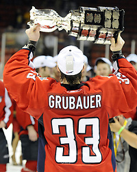 Philipp Grubauer and the Windsor Spitfires won the 2010 MasterCard Memorial Cup in Brandon, MB with a 9-1 win over the host Wheat Kings on Sunday May 23. Photo by Aaron Bell/CHL Images