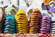 TETOUAN, MOROCCO - 6th April 2016 - Decorative and colourful Moroccan slippers for sale in the souqs of Tetouan medina, Rif region of Northern Morocco.