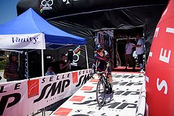 Alexis Ryan charges down the start ramp on Stage 5 of the Giro Rosa - a 12.7 km individual time trial, starting and finishing in Sant'Elpido A Mare on July 4, 2017, in Fermo, Italy. (Photo by Sean Robinson/Velofocus.com)