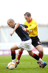 Falkirk's Farid El Alagui and David Rowson..half time, Falkirk v Partick Thistle, 10/3/2012..©Michael Schofield.