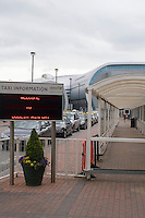 April 18th 2010 An empty taxi rank at the arrivals area at Dublin Airport as all flights in Ireland are cancelled due to the ash cloud from a volcano in Eyjafjallajokull in Iceland