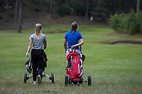 NUNSPEET  -  Danique Stokmans (r) met  Eva Nijenhuis   , spelers NGF Nationale selectie golf Nationale team,   COPYRIGHT KOEN SUYK