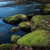 Mossy rocks along the Merced River in Yosemite National Park with long exposure.