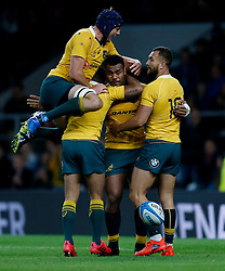 Australia's Samu Kerevi celebrates scoring their third try during the Rugby Championship match at Twickenham Stadium, London.