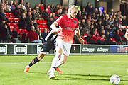 Salford City defender Carl Piergianni in possession of the ball during the EFL Sky Bet League 2 match between Salford City and Grimsby Town FC at Moor Lane, Salford, United Kingdom on 17 September 2019.
