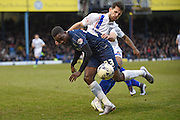 Southend United forward Jamar Loza under pressure during the Sky Bet League 1 match between Southend United and Gillingham at Roots Hall, Southend, England on 19 March 2016. Photo by Martin Cole.