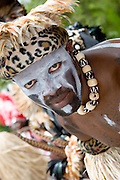 Performer and native Caribbean dancer in carnival parade, St. John, U.S. Virgin Islands.